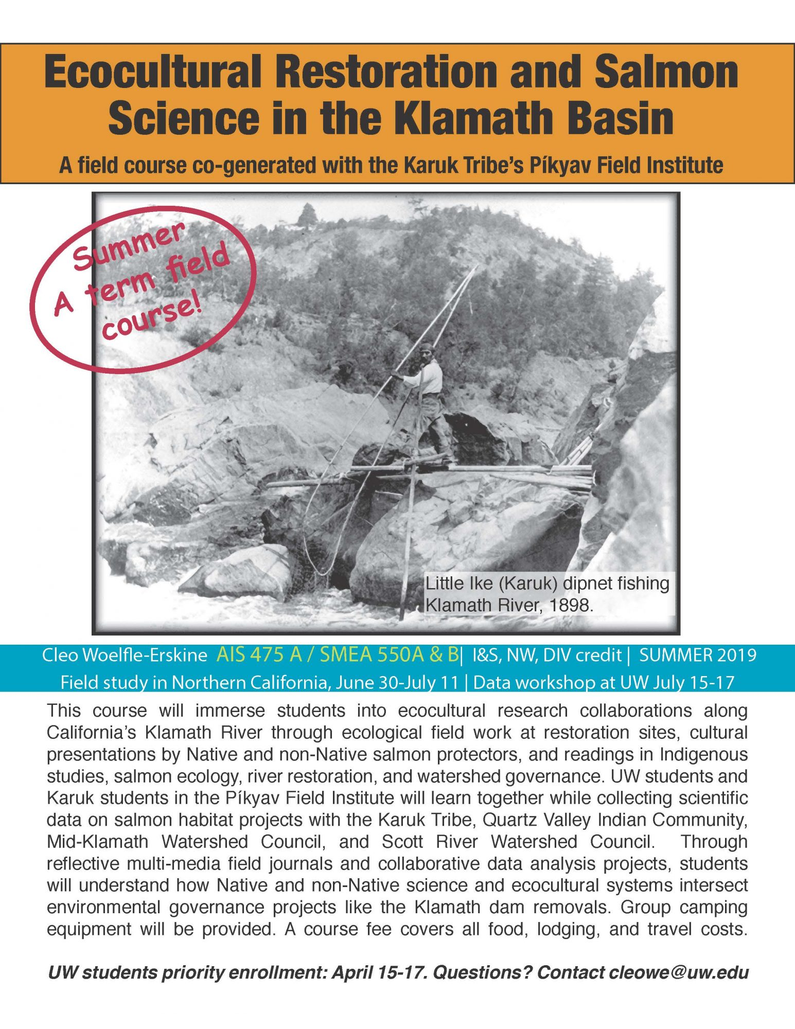 course flyer for Ecocultural Restoration and Salmon Science in the Klamath Basin