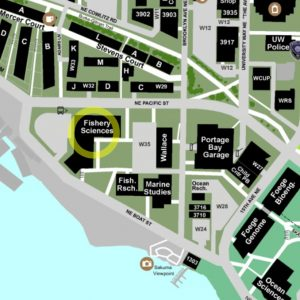 campus map highlighting location of the Fishery Sciences Bldg