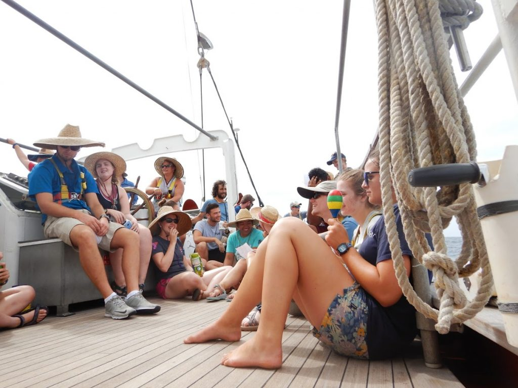DSCN0121: The students of S281 assembled on the quarterdeck for 1400 (2PM) class. Discussions varied from sea birds, meteorology, tuna fisheries, and Pacific Island nation policy.