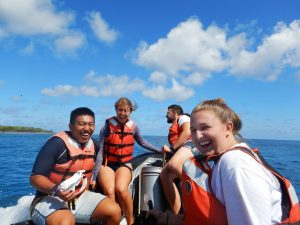Heading out to the next snorkel spot on Nikumaroro! From left to right: Andrew Chin (UW), Chloé-Rose Columbero (Harvard), Brian Derosiers (Northeastern), Makaila Lyons (McDaniel College)