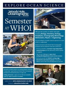 flyer for autumn 2020 semester at WHOI